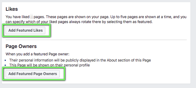 Facebook Page Featured Pages and Page Owners menu Screenshot
