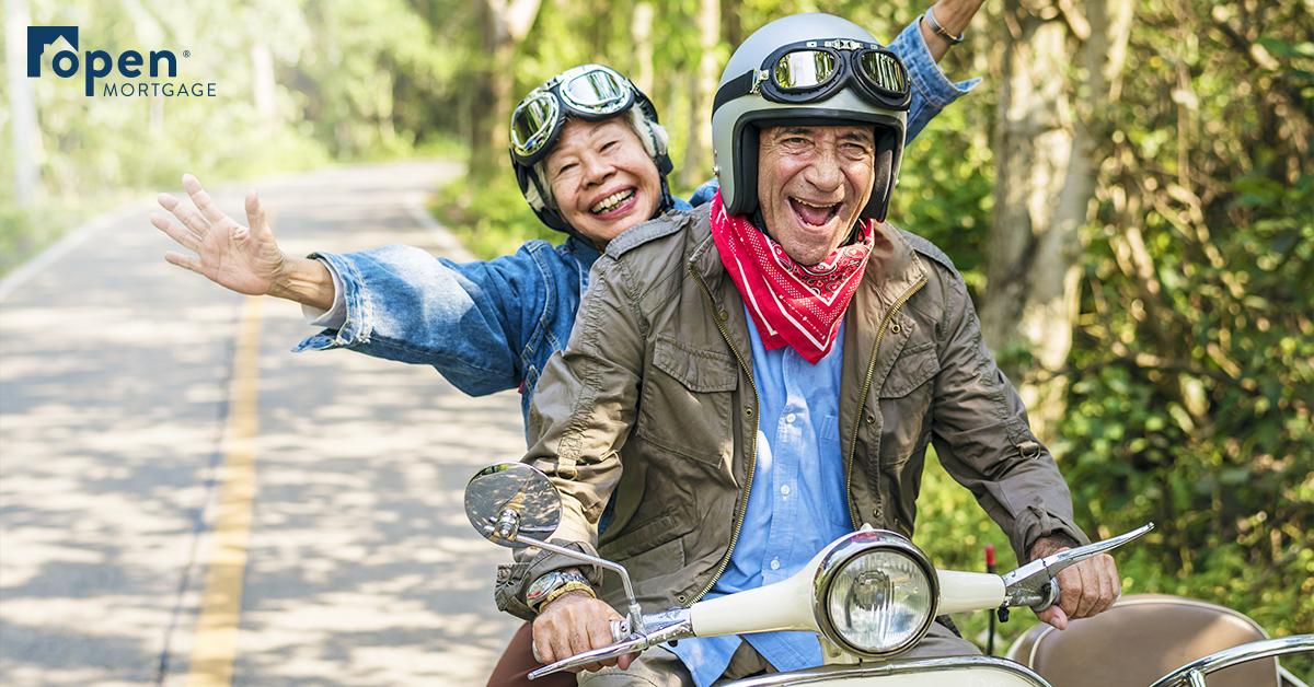 Older couple on motorcycle