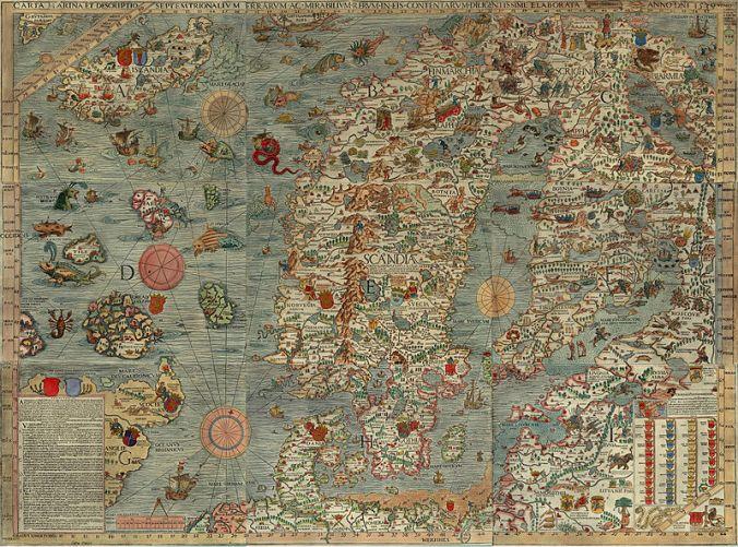 Seekarte und Beschreibung der nördlichen Lande und der dort vorkommenden wunderlichen Dinge, höchst sorgfältig gezeichnet in Venedig im Jahre 1539 mit großzügiger Unterstützung des Patriarchen von Venedig, des höchst ehrenwerten Herrn Geronimo Querini,1539