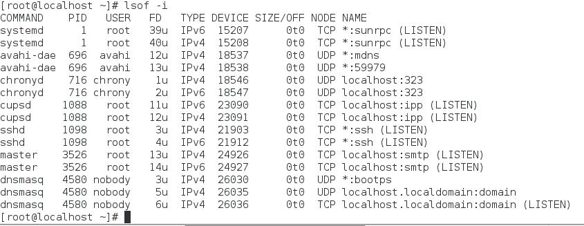 linux open port using lsoc