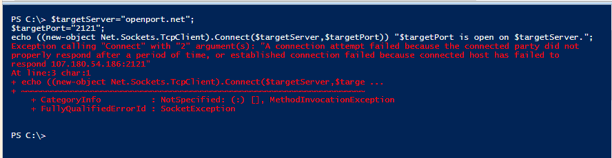 PowerShell remote port is close
