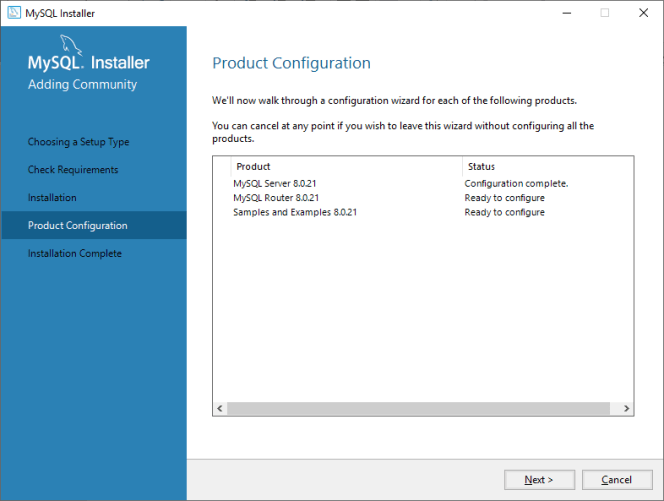 MySQL product configuration continue