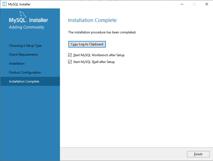 MySQL Product Configuration Complete