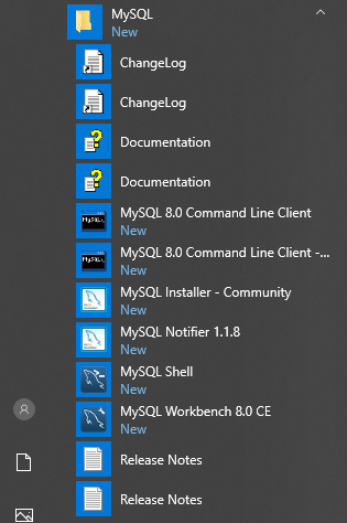 MySQL Added Menu