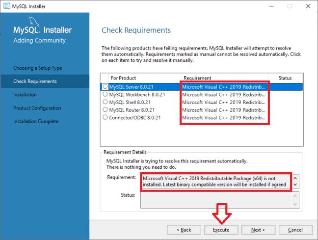 MySQL Check Requirements