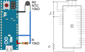 The voltage divider circuit for measuring temperature using a thermistor and Arduino