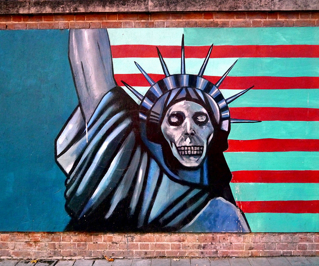 Graffiti on the walls of the old American Embassy in Tehran.