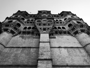 View up the walls of Mehrangarh Fort