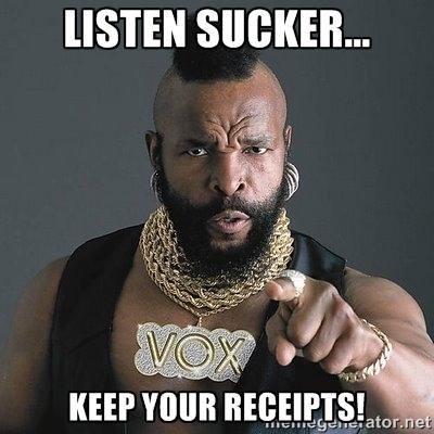Keep your receipts!