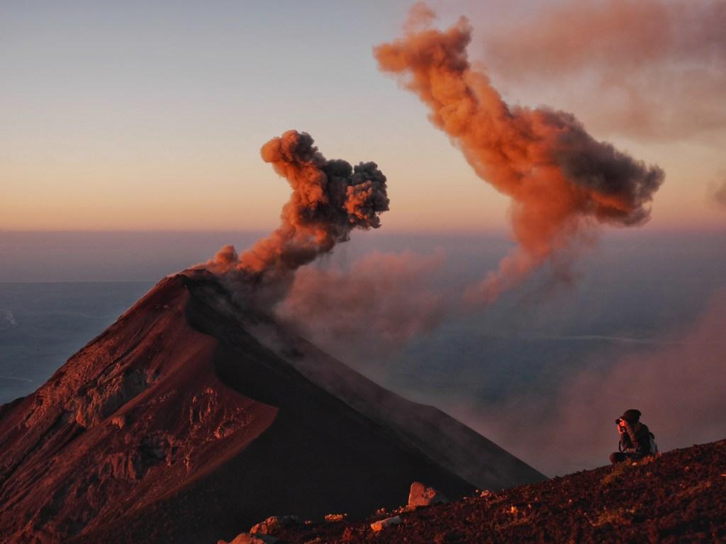 Sunrise over Fuego after climbing Acatenango