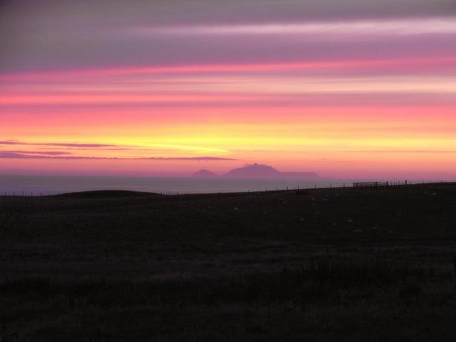 Sunset over Foula, Shetland. Pic credit James Tait