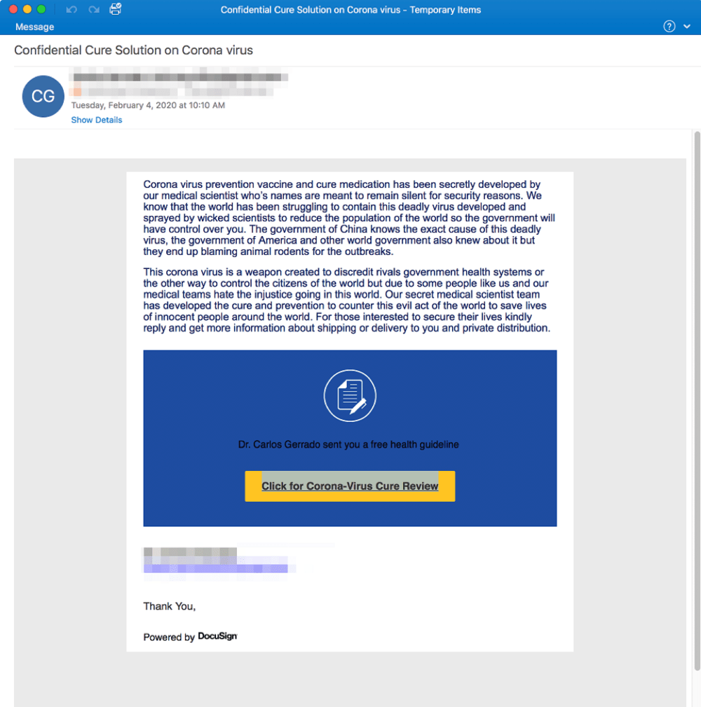 A screenshot of a phishing email preying on the fears caused by Covid 19