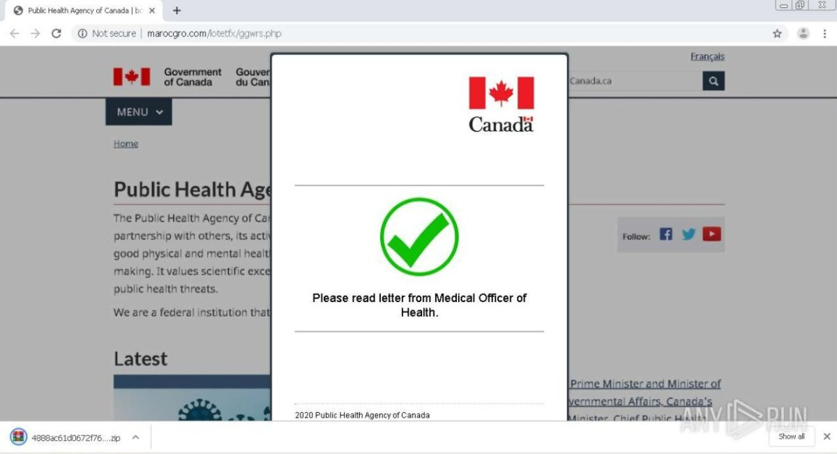 Malware popup made to look like it's from the Canadian government