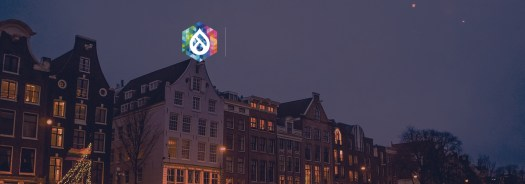 Amsterdam buildings and DrupalCon logo