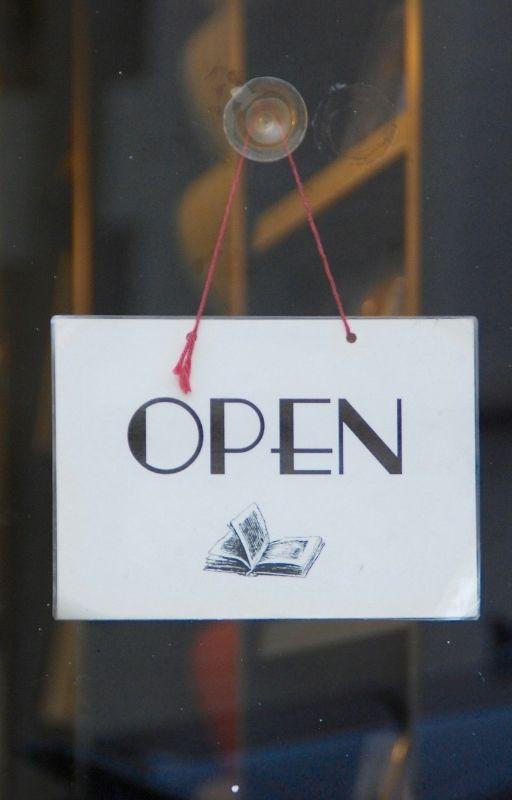'Open' written outside a shop