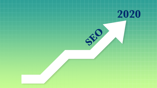 An arrow moving upwards with SEO and 2020 written on it's side