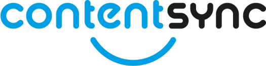 logo of content sync drupal module with the word content sync written in blue and black