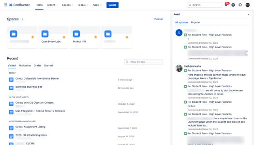 Screenshot of confluence tool