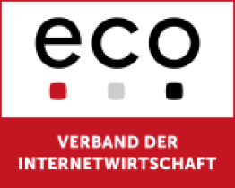 Image of a square that is divided into two parts where the upper part has eco written on it and the below section has a red background where words are written in the German language