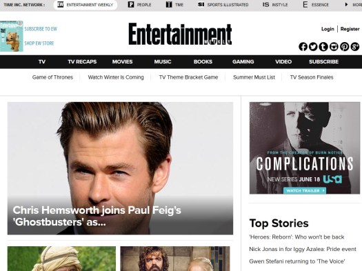 A screenshot of entertainment weekly website
