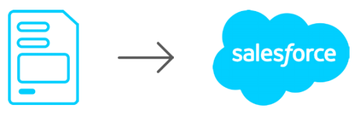 Image of a file with blue outlines pointing towards a blue salesforce cloud
