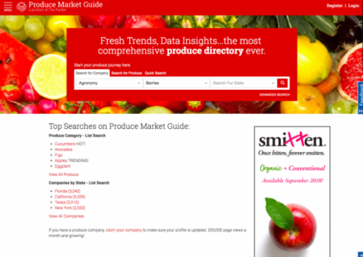 red and white homepage with text and two boxes
