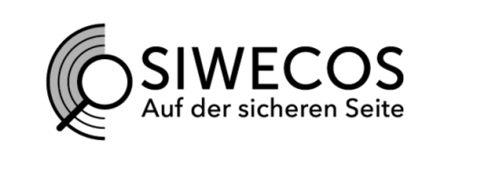 Image of the logo of SIWECOS with an illustration showing a magnifying glass superimposed over concentric semicircles