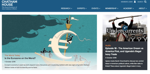 Homepage of Chatham House with an illustration showing a boat and Euro logo