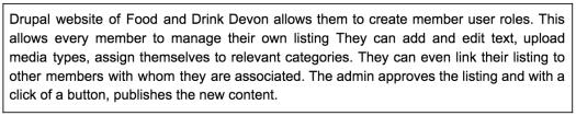 Text description about Food drink devon site in a box