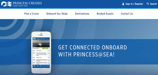 Princess Cruises webpage showing a mobile phone over a bluish background