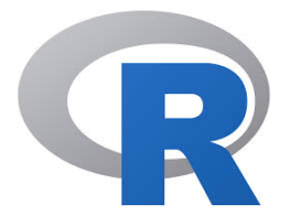 Logo of R programming language with the letter R and a grey circle overlapping it.