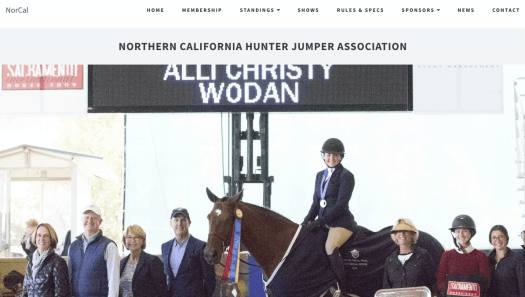 A picture of a woman sitting on a horse in the middle of a group of people with tabs on the top of the homepage of NorCal Hunter's website