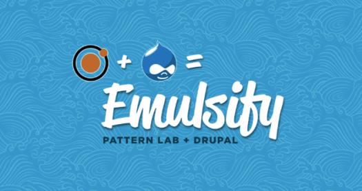 Logo of Pattern Lab and Drupal = 'Emulsify' on a blue background