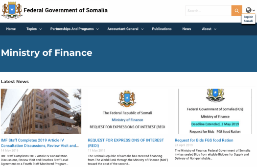 Homepage of Ministry of Finance of Somalia with an image of a multi floor building