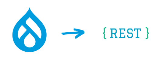 The Drupal logo is towards the left and REST logo is towards the right with an arrow in the middle.