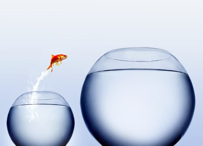 Two fish bowls, one small and one big with water where a fish is jumping from small bowl to the bigger bowl