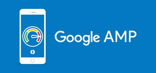 A blue background with a mobile phone where a meter is drawn on the screen and google amp is written on its side