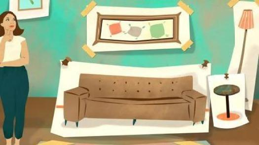 A lady standing on the left side of the room, thinking, where 5 big white sheets have furniture drawn on it and clipped to the background