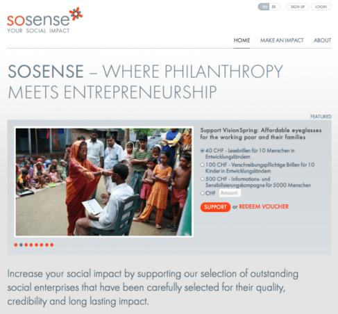 Screenshot of the homepage of Sosense website