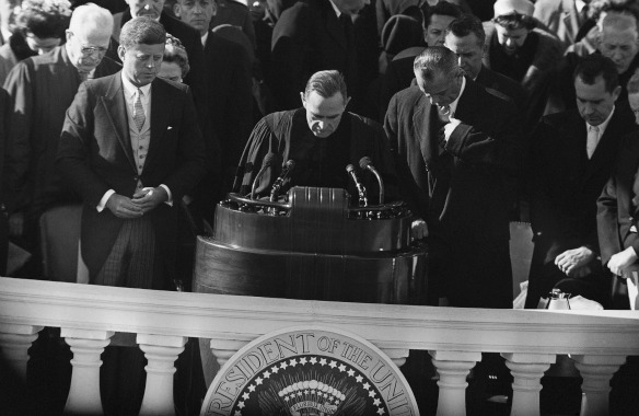 AP/Rabbi Dr. Nelson Glueck gives benediction at John F. Kennedy's inauguration