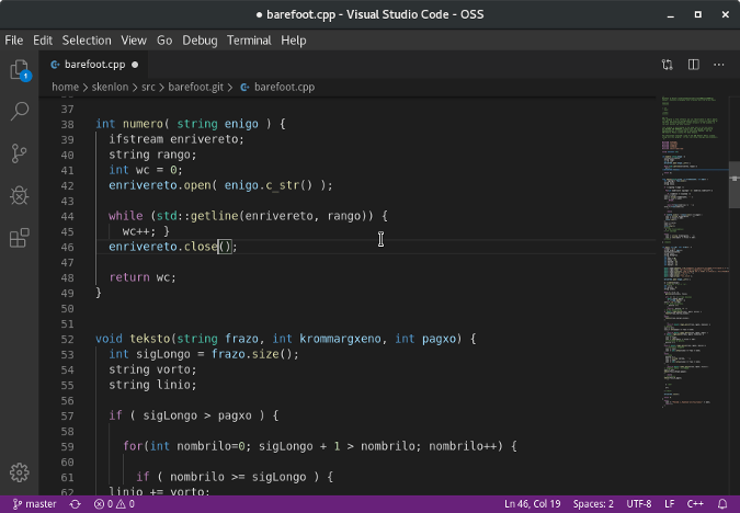 Captura de pantalla de Code OSS