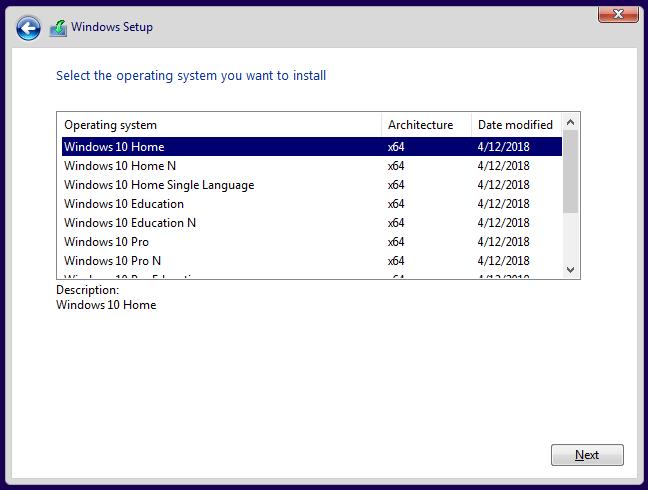 Select Windows version