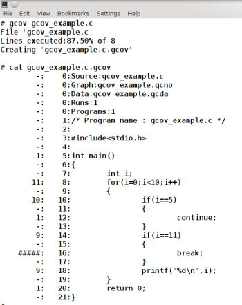 Figure 1 Output of Gcov