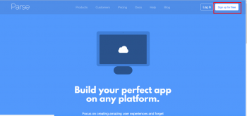 Figure 7: Home page of parse.com