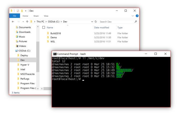 Windows 10 integrates Bash to let you run Linux programs