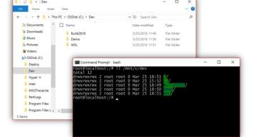Windows 10 integrates Bash to let you run Linux programs