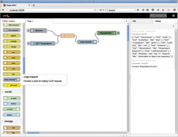 Figure 4 coap request node is NodeRED