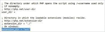 Figure 7 Uncommenting Extension_dir