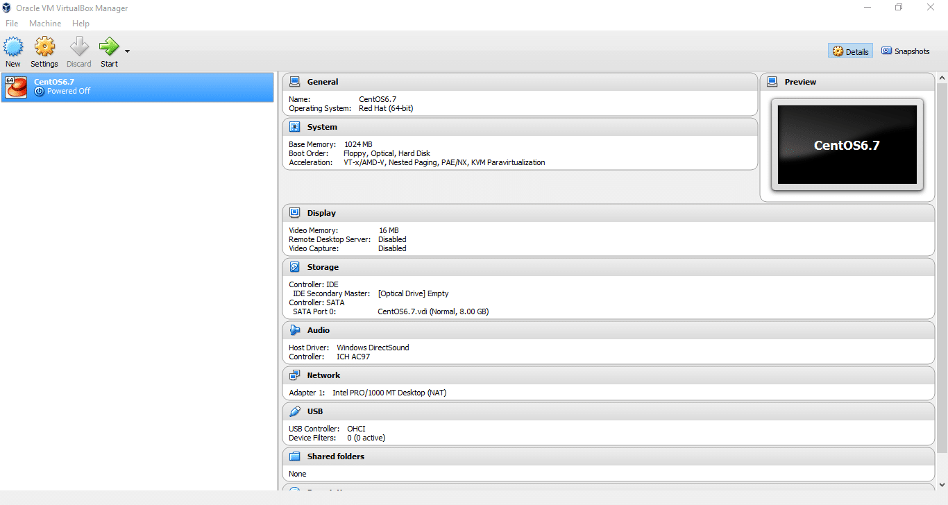 Installation and configuration of VirtualBox on Windows 10 - Open