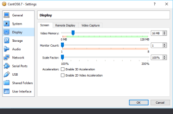 Figure 7 Virtual Box Display Settings